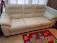 Nearly new Excellent condition 3 seat cream leather sofa with full electric armchair