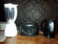 Toaster, kettle and blender