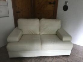 Contemporary Style Two Seater Cream Leather Sofa
