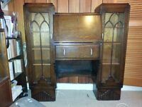 Art deco oak secretaire combined bookcase and desk. 1930's high quality craftsmanship
