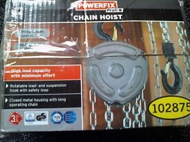 New POWERFIX CHAIN HOIST - LIFTING HEIGHT APPROX 3m LOAD CAPACITY 1000 kg