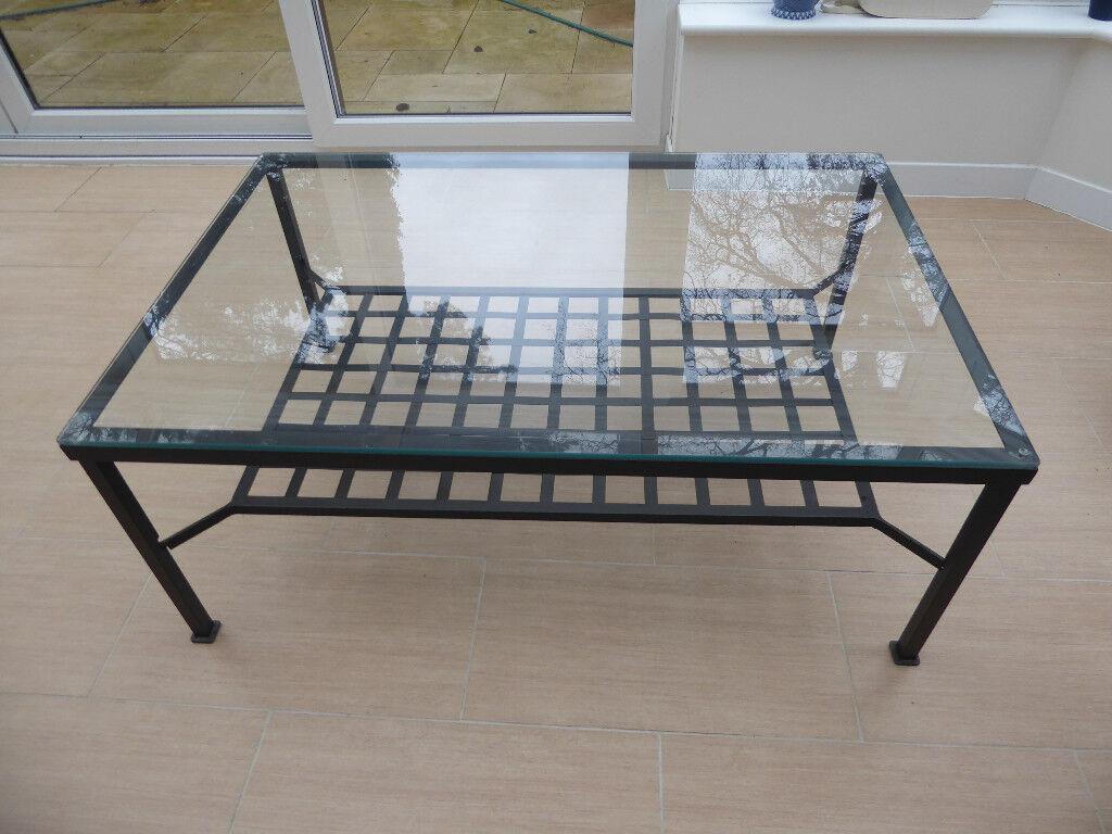Ikea Gl Coffee Table With Black Metal Frame W 78cm L 118cm H