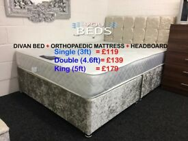 Crushed Velvet DIVAN BED + ORTHOPAEDIC MATTRESS + HEADBOARD