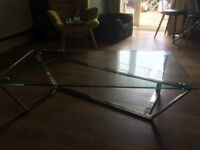 Lovely glass and chrome coffee table