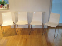 4 x John Lewis White Acrylic Dining Chairs