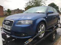 Audi A3 8p s line breaking blue LZ7C bumper bonnet headlight panel seats alloy wheels wing bootlid