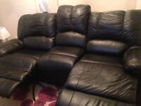 Black leather sofa recliner 3 seater