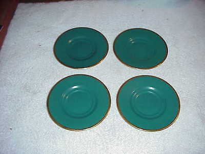 """Kahla 4 3/4"""" Saucers - Green with Gold Trim - Set of 4 Made in Germany"""