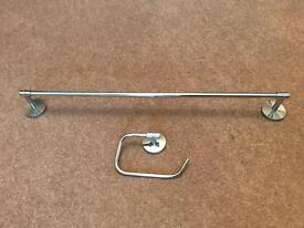 Towel Rail and Toilet Roll Holder