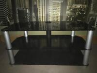 Perfect Tempered Glass Black Tv Stand