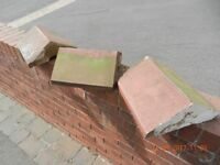 ORIGINAL RECLAIMED TERRACOTTA VICTORIAN ANGLED WALL TOPPERS