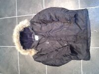Boys plain black Parker coat with fake fur hood - Age 10-12yrs approx