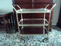 Afternoon Tea HOSTESS TROLLEY 3 Tier Removable Tray Gold finish twin handle Cocktail wheels castors