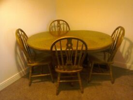 Extendable solid wood dining table & 4 chairs