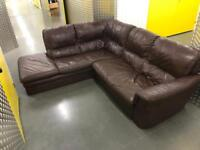Brown Leather L shape sofa, Free delivery
