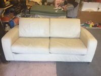 Cream Leather Sofa Bed In Good Condition £65.00