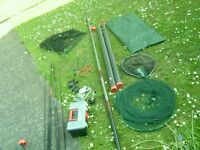 Job lot fishing tackle: 2 9-F rods including 2 tubes to hold rods.