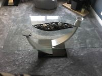 Glass coffee table and glass lamp table