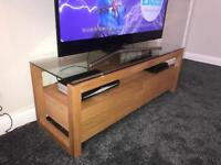 Solid Oak TV Unit with Matching Side Tables