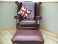 Stunning Oxblood Leather Chesterfield Queen Anne Chair and Stool.