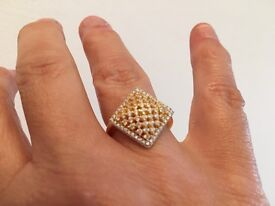 White cubic zirconia cocktail ring