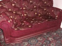 2x MATCHING 3 SEATER SOFAS GOOD QUALITY AND COMFORTABLE IN DEEP BURGUNDY/RED FLORAL CUSSIONS