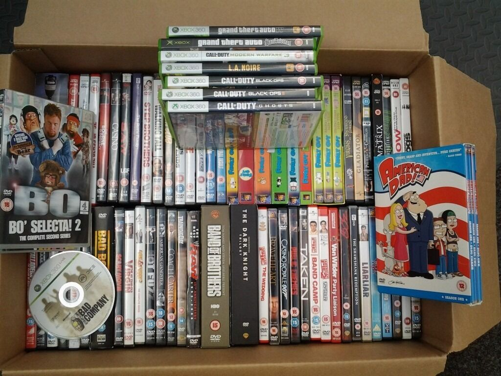 BOX OF DVD MOVIES and XBOX 360 gamesin Driffield, East YorkshireGumtree - I have a box of DVD movies and Xbox360 games. Clear out time. Ideal for car booters. Make me a reasonable offer and they are yours. All in excellent condition. Ring 07815723194 anytime for collection in Driffield Yo256ul