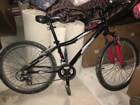 "Mongoose mountain bike 24"" wheels. Black and red in colour. Excellent condition. 18 speed. £30"