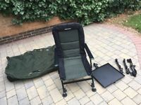 Carp System fishing Chair and Nash Wide Boy Bedchair bag
