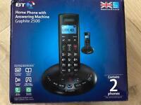 BT Graphite 2500 twin telephone set cordless