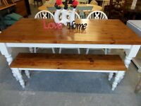 NEW 6' Foot Shabby Chic Farmhouse Oak Finish Pine Table, Bench, 3 Chairs UK Delivery