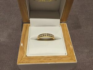 1.0 Carat Diamond Half Eternity Ring In Yellow Gold By Clarity Boutique Size N