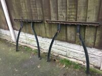 Cast Iron Patio Set / Garden Table & 2 Benches & Parasol Base Can Deliver