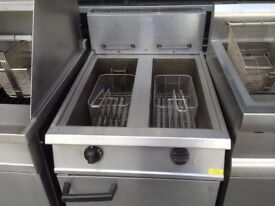 CATERING COMMERCIZL TWIN GAS FRYER CUISINE RESTAURANT CAFE SHOP TAKE AWAY FAST FOOD BBQ CHICKEN CHIP