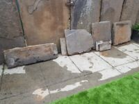 9 old stone paving slabs, different sizes