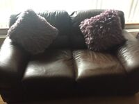 3-2-1 brown leather suite of furniture