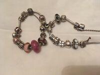 Pandora bracelets incl Snowman and Penguin charms
