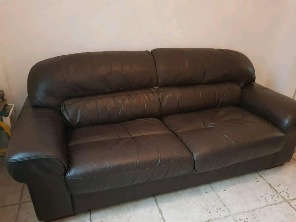 3+2 dark brown leather suite