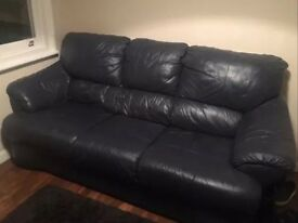 Leather sofa . Dark blue/ black