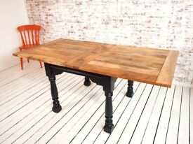 Rustic Farmhouse Dining Table Drop Leaf Painted Finish Extending - Folding, Ergonomic, Space Saving