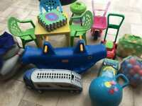 Job Lot Outdoor Toddler Toys - Seesaw, Table, Games, Car Transporter, BBQ, Skittles