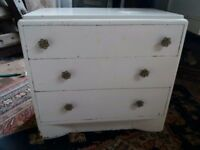 Vintage wooden chest of three drawers