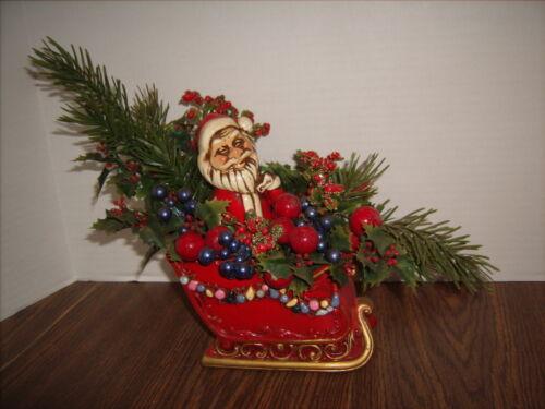 Napcoware Christmas SANTA AND SLEIGH Planter Vintage Excellent Shape