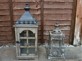 Two shabby chic indoor candle lanterns, good condition