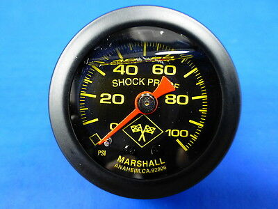"Marshall Gauge 0-100 psi Fuel Pressure Oil Pressure 1.5"" Midnight Black Liquid"
