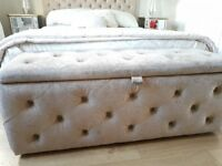 NEXT ottoman in soft velvet pebble, immaculate condition