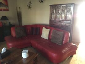 DFS corner red leather sofa and stool
