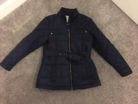 Girls next navy quilted jacket 7-8 £5 ip2