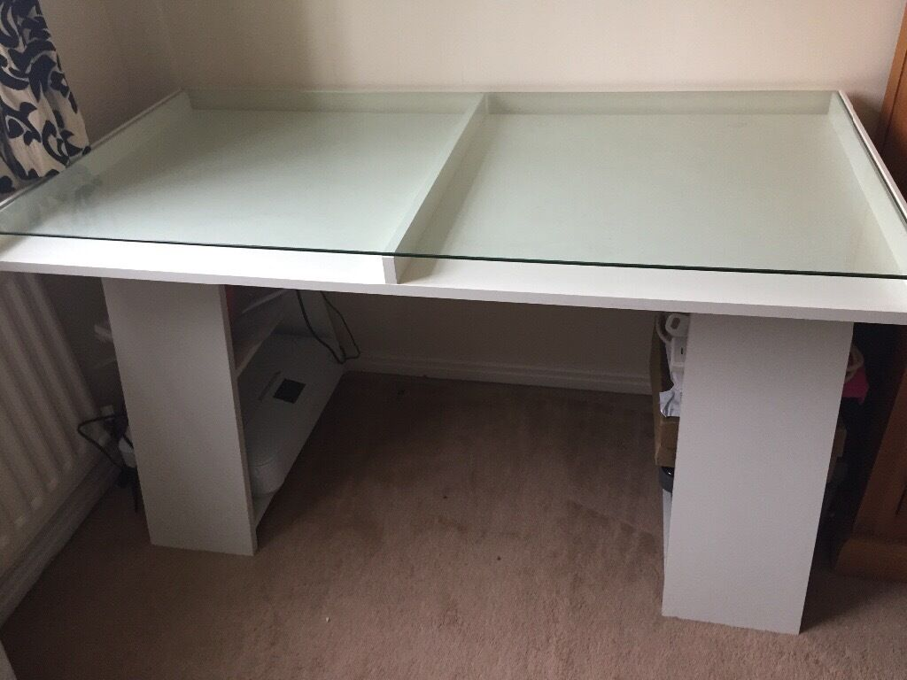 Ikea vika fagerlid white desk with glass top and storage shelves in darlington county durham - Glass office desk ikea ...