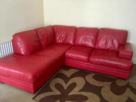 Leather corner sofa with foot stool